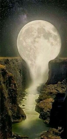 Moon melting into Waterfalls