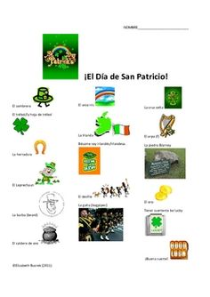 Teach your students some new vocabulary for Saint Patrick's Day in Spanish! This document includes Saint Patrick's Day vocabulary and expressions, greeting card templates, and a wordsearch with answer key. Feliz Dia de San Patricio!