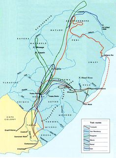"""Map of the Great Trek (South Africa) during the and by Boers (Dutch/Afrikaans for """"farmers""""). African Map, African History, History Online, African Countries, Historical Maps, Zulu, History Facts, Family History, Trek"""