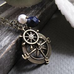Compass Pendant Nautical Necklace Long Sailor by StefenyStanyer, $24.00