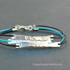 Hammered Wire and Leather Bracelet DIY, and many other ideas on this website to distract me for hours...