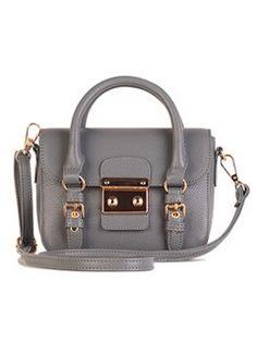 Gray Metal Detail Satchel Bag