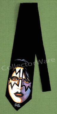 KISS Ace Frehley drawing 2 CUSTOM ART UNIQUE TIE   Each necktie is individually hand-painted, a true and unique work of art indeed!  To order this, or design your own custom tie, please contact us at info@collectorware.com, or visit http://www.collectorware.com/neckties-kiss_andrelated.htm
