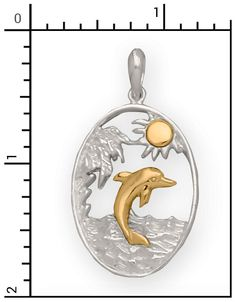 Nautical Jewelry - 14Kt./Sterling Silver Dolphin Beach Scene, All Sterling Silver & Sterling / 14Kt. Combo Items, 2-SGC096
