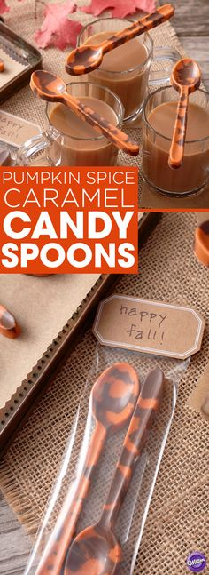 Pumpkin Spice Caramel Candy Spoons - No flavors represent fall like pumpkin spice and salted caramel…and when you put them together, tasty things happen! These Pumpkin Spice Caramel Candy Spoons are made using Pumpkin Spice and Salted Caramel Hot Cocoa Candy Melts Candy, and they make for a wonderful fall treat! Serve with a hot pumpkin spice latte or a bowl of cinnamon ice cream.