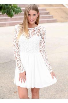 8th grade promotion dress. Super cute http://www.ustrendy.com/white-long-sleeve-dress-with-lace-embroidered-bodice