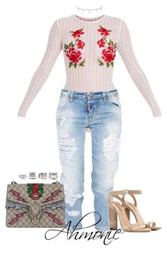 """""""Untitled #321"""" by ahmonie ❤ liked on Polyvore featuring Dsquared2, M&Co, adidas Originals, Gucci and Forever 21"""