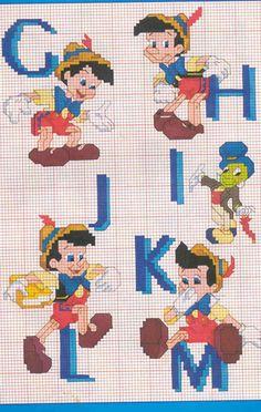 Schema Punto Croce Alfabeto Pinocchio 2