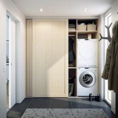 skjutdörrar som döljer tvättmaskin och dyl