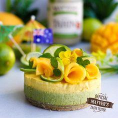 Mango Matcha Lime Cheesecake - Mayvers http://mayvers.com.au/recipes/mango-matcha-lime-cheesecake/