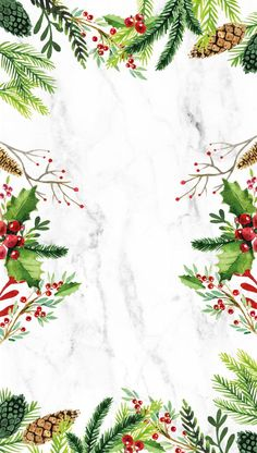 source unknown (website no longer working) - xmas iPhone wallpaper / background with wreatg greeneries and marble :3