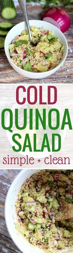Cold Quinoa Salad Recipe (Clean Simple and A Crowd-Pleaser!) Cold Quinoa Salad Recipe (Clean Simple and A Crowd-Pleaser!) Peanut Butter Fingers pbfingers Favorite Recipes Cold Quinoa Salad www. This […] at home with friends Clean Dinner Recipes, Clean Eating Recipes, Healthy Eating, Healthy Recipes, Healthy Meals, Healthy Cooking, Keto Recipes, Healthy Food, Cold Quinoa Salad