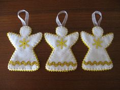 Gold and White Angel Ornaments Tags: christmas decorations red green gold handmade felt ornaments stitched rickrack Christmas Mom, Christmas Sewing, Christmas Angels, Christmas Crafts, Christmas Markets, Xmas, Christmas Decorations Sewing, Fabric Christmas Ornaments, How To Make Ornaments