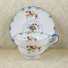 Vintage 1930s Paragon English Bone China Blue Floral Tea Cup $60 by scdvintage