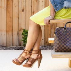 Guess Shoes - Brown Double Ankle Strap Leather/Wooden Heels