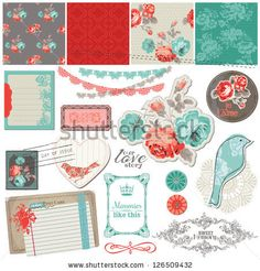 Scrapbook Design Elements - Vintage Roses and Birds - in vector - stock vector