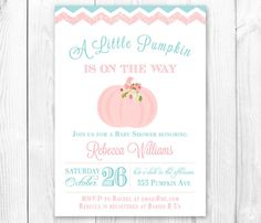 Little Pumpkin Baby Shower Invitation  by HauteChocolateFavors