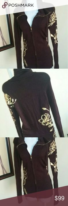 1Day Sale  New Cache Jacket embellished New. Stunning! Logo zip pull. Cache Tops