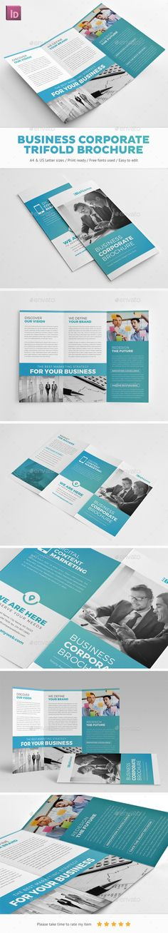 Business Corporate Trifold Brochure Template InDesign INDD. Download here: http://graphicriver.net/item/business-corporate-trifold-brochure/14948841?ref=ksioks
