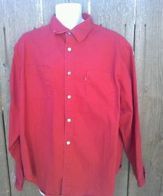 Help the Seeing Eye Dogs and get a great deal at the same time!   Levi's Jeans XL Bright Red Men's Long Sleeve Button Front 100% Cotton  Shirt #LevisJeans #Western