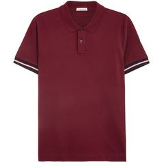 Moncler Burgundy piqué cotton polo shirt ($215) ❤ liked on Polyvore featuring men's fashion, men's clothing, men's shirts, men's polos, mens polo shirts, men's cotton polo shirts, mens pique polo shirts, mens long sleeve shirts and mens long sleeve polo shirts