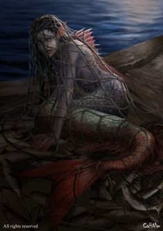 Project Mythology Korean She was captured by a young fisherman very early in the morning, The fisherman had pity on her before her eyes filled with pearly tears. He releases it despite the legend of the meat of the mermaid is very good for the health. Fantasy Kunst, Dark Fantasy Art, Fantasy Artwork, Fantasy Love, Final Fantasy, Mermaid Artwork, Mermaid Drawings, Mermaid Paintings, Fantasy Mermaids