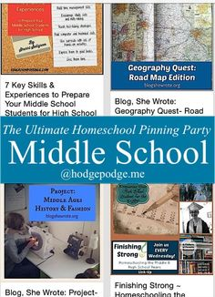Middle School Resources at The Ultimate #Homeschool Pinning Party www.hodgepodge.me