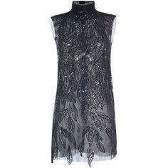 Alberta Ferretti Embellished High Neck Mini Dress (€3.090) ❤ liked on Polyvore featuring dresses, party dress, vestido, short high neck dress, sheath cocktail dress, mock neck dress, sheath dress and short dresses