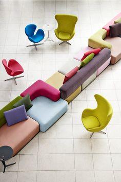 Fritz Hansen color pop art chairs / modular seating