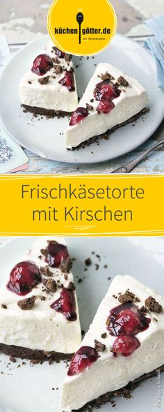 Sommerliche Frischkäsetorte, schnell zubereitet ohne Backen. Verfeinert mit Kirschen. Baby Food Recipes, Cake Recipes, No Bake Cheesecake, My Dessert, Mini Cakes, Bread Baking, Food Inspiration, Bakery, Food Porn