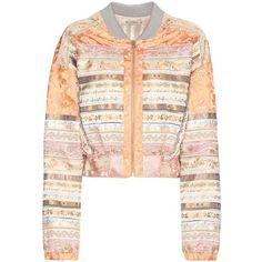Etro Silk Bomber Jacket (29.014.525 IDR) ❤ liked on Polyvore featuring outerwear, jackets, multicoloured, bomber style jacket, pink silk jacket, multi colored jacket, etro jacket and etro