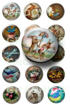 Vintage Easter bunnies glass buttons 1 inch