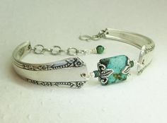 Silver Spoon Bracelet, Del Mar 1939, African Turquoise, Silverware Jewelry - INCREDIBLY CREATIVE & SO LOVELY!!