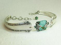 Silver Spoon Bracelet, Del Mar 1939, African Turquoise, Silverware Jewelry