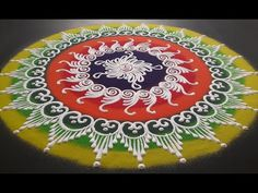 Beautiful Sanskar Bharati Rangoli Design - YouTube Rangoli Designs Simple Diwali, Indian Rangoli Designs, Rangoli Designs Latest, Rangoli Designs Flower, Free Hand Rangoli Design, Rangoli Border Designs, Rangoli Ideas, Rangoli Designs With Dots, Beautiful Rangoli Designs
