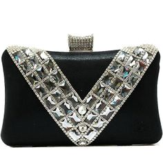 Satin Hard Box Crystal Stud Evening Clutch