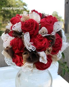 One Dozen Red Burlap Roses Bridal Wedding Bouquet with burlap and vintage lace by GypsyFarmGirl, Burlap Bouquet, Burlap Roses, Red Wedding, Wedding Colors, Wedding 2015, Chic Wedding, Fall Wedding, Wedding Stuff, Wedding Centerpieces