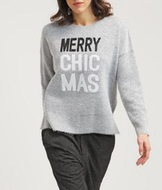 New Look Sweter z napisem Merry Chic Mas pale grey