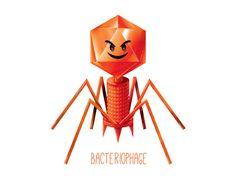 Bacteriophage Evil / Virus / Wall art print / biology / cute /