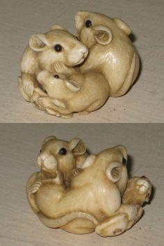 Antique japanese carved netsuke three rats signed ikko