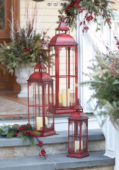 red candle lanterns and evergreens 33 Traditional Red And Green Christmas Home Decor Ideas Decoration Christmas, Christmas Lanterns, Noel Christmas, Green Christmas, Country Christmas, Xmas Decorations, Christmas Design, Outdoor Decorations, Christmas Porch Ideas