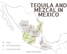 Mexico map tequila mezcal
