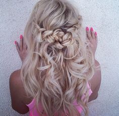 curls with a perfect braid at the back of the head