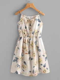 Floral Print Random Drawstring Elastic Waist Cami Dress (Try Clothes Casual) Pretty Outfits, Pretty Dresses, Women's Dresses, Beautiful Dresses, Wearing Dresses, Floral Dresses, White Floral Dress, Gorgeous Dress, Jersey Dresses
