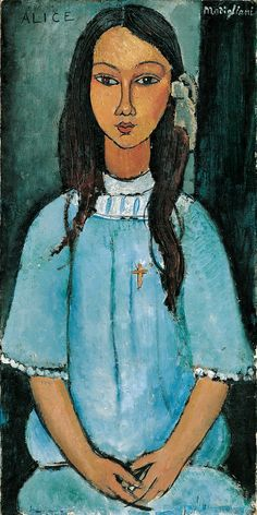 "Amadeo Modigliani (1884-1920), ""Alice"", ca. 1918.  Statens Museum for Kunst / National Gallery of Denmark. www.smk.dk -> Elsker dette billede. Det hang hjemme hos min mormor og morfar, da jeg var lille."