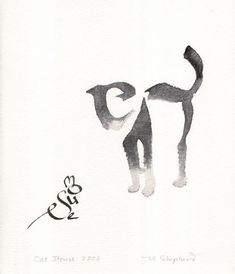 Cat and Mouse Calligraphy Art by Margaret Shepherd More