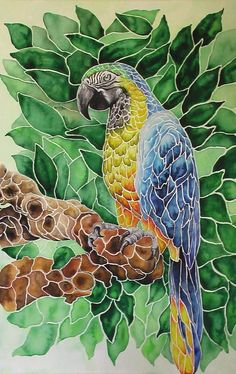 Watercolor of a parrot done as a mosaic or stained-glass look - love this!