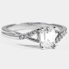 Platinum Chamise Diamond Ring // Set with a 0.90 Carat, Emerald, Super Ideal Cut, E Color, VVS2 Clarity Diamond #BrilliantEarth