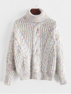 Chunk chain knit turtle neck jumper with holo colours ( pink,blue,white) Knit Cardigan, Pullover Sweaters, Cropped Sweater, Sweater Jacket, Sweater Outfits, Jumper, Cardigans, Strand Kaftan, Rosa Pullover