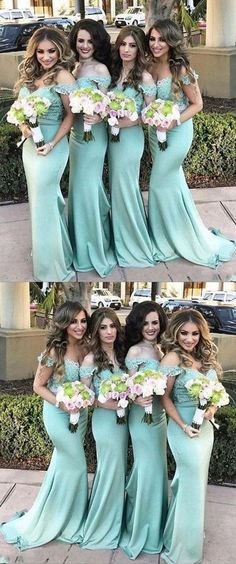 Mermaid Off-the-Shoulder Sweep Train Mint Green Bridesmaid Dress with Lace M3577